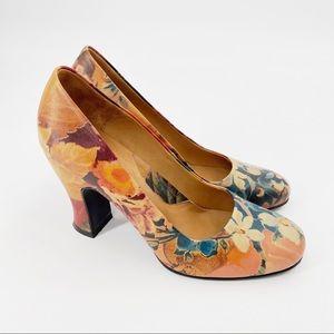 John Fluevog miracles floral heel leather
